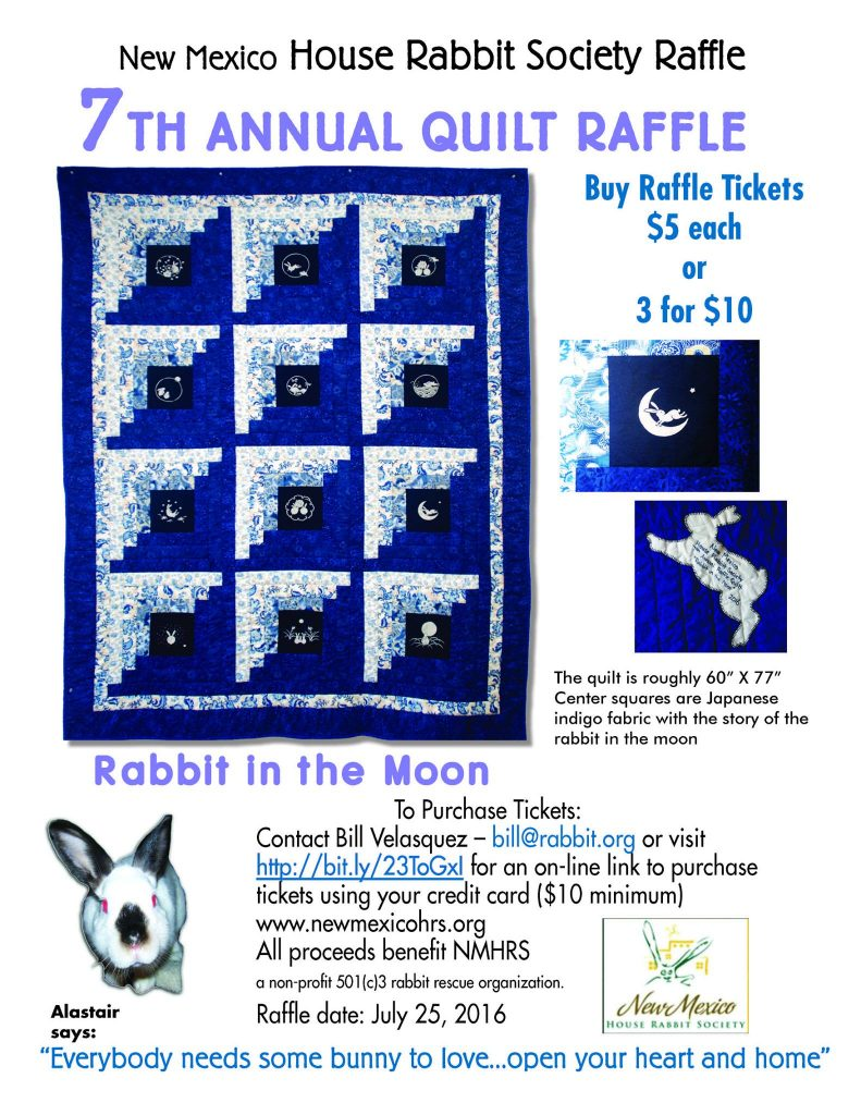 Rabbit in the Moon quilt. Get your raffles tickets!
